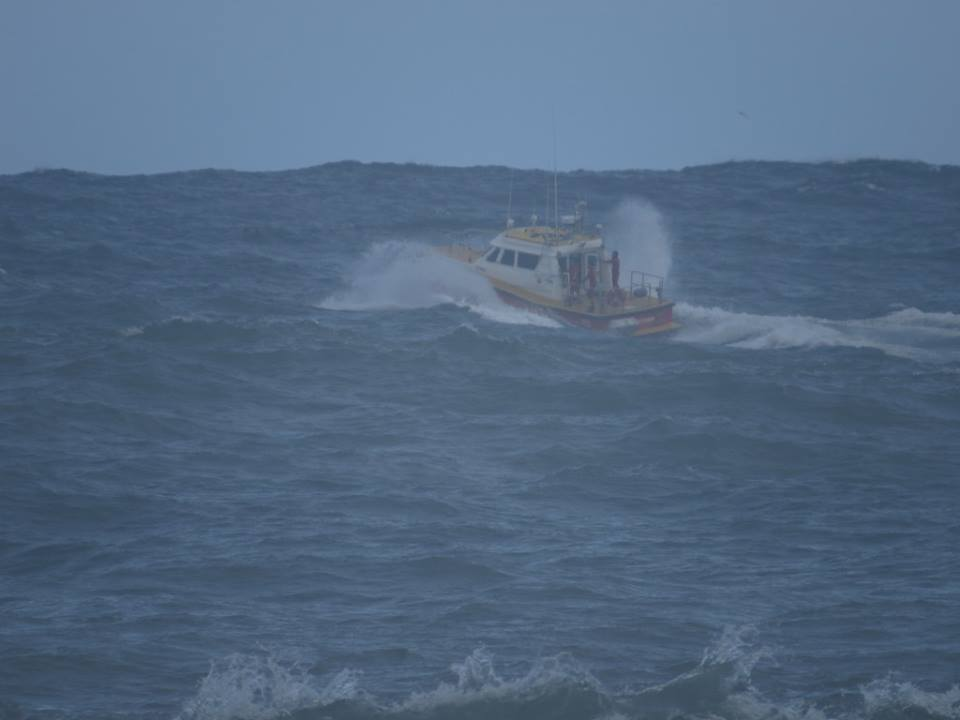 John Wilson took this picture of the rescue boat from the sea wall near Queen's Beach.