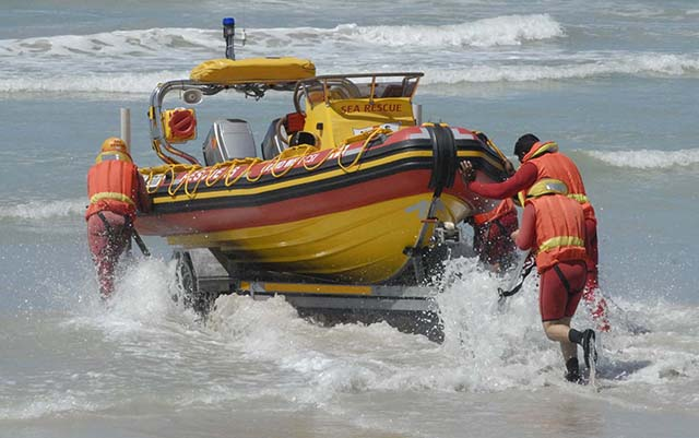 The vollunteer crew of Sea Rescue's station 16 at Strandfontein put their new 5,5 meter Rigid Inflatable Boat ( RIB) through its paces before the official launch and naming ( Spirit of Grand West CSI) on Saturday. Andrew Ingram