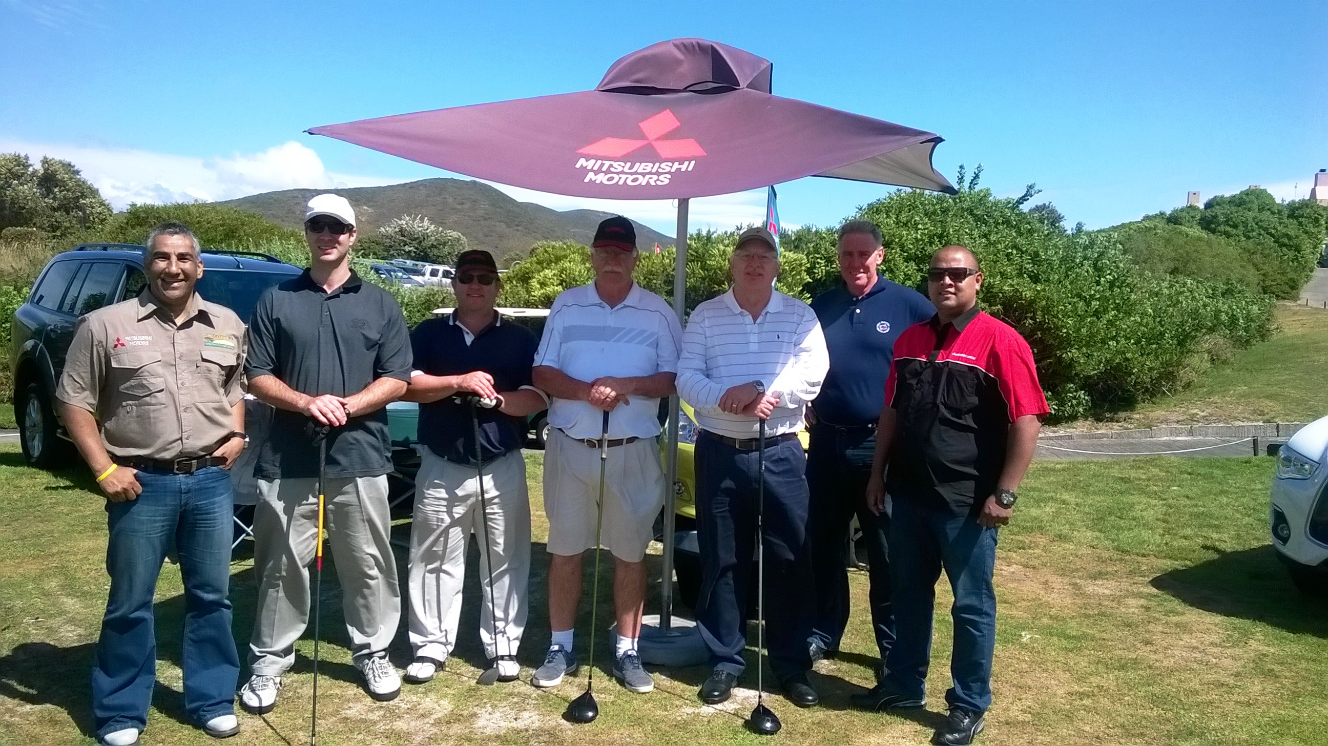 Sponsors of the 1st hole, Imperial Mitsubishi with the 4-ball from Marpro and NSRI CEO, Cleeve Robertson ( second right).