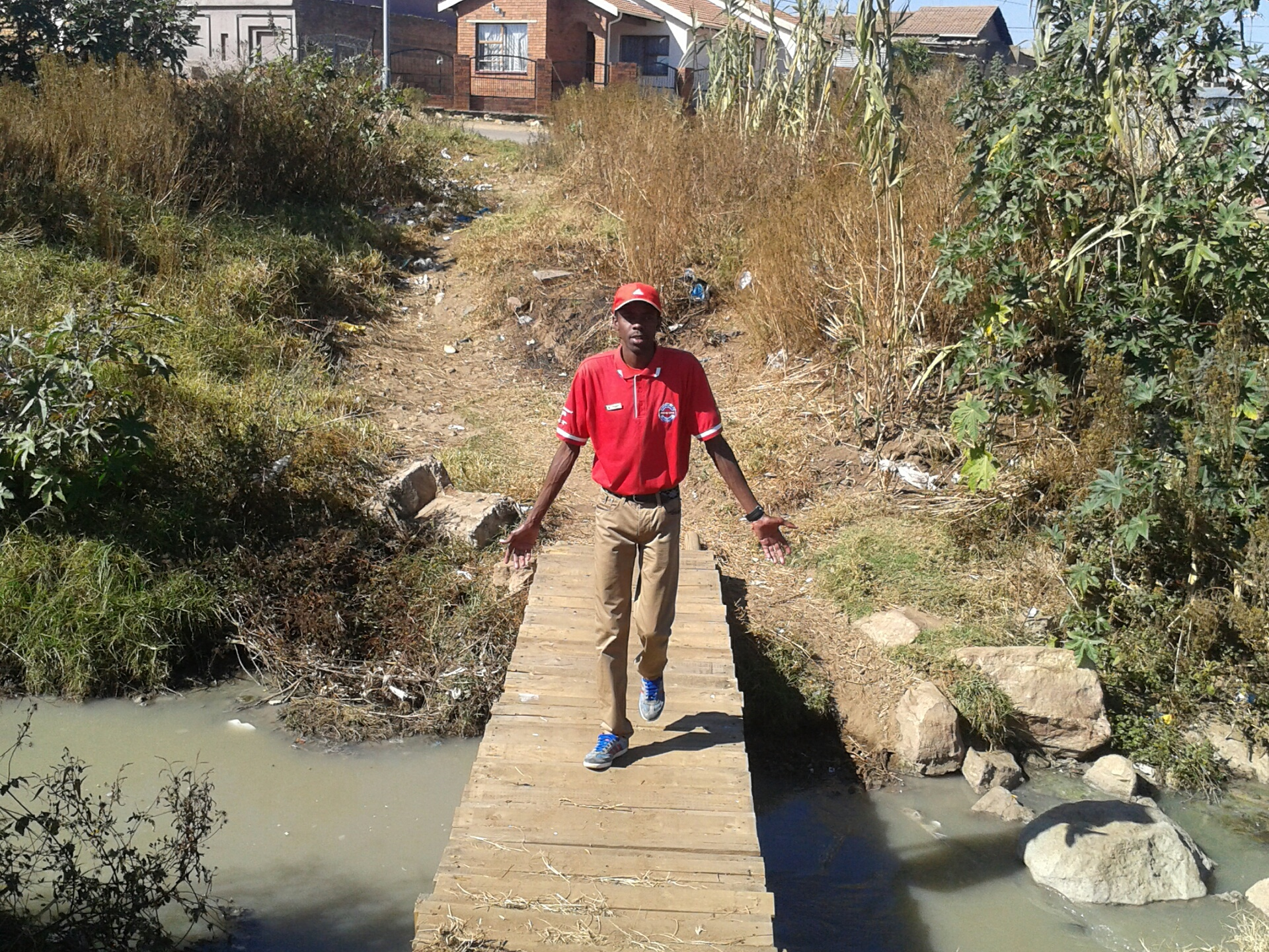 WaterWise Academy's Kenneth Gagela on the bridge built by the community.