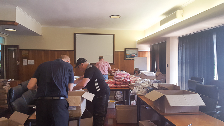 Our volunteers from the BMW Helderberg Club assisting with the packing.