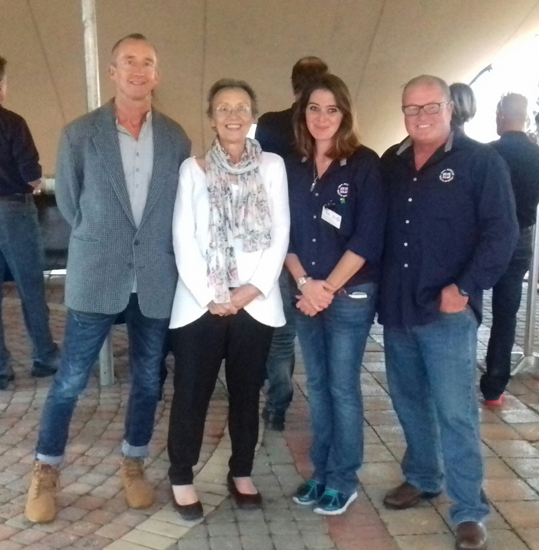 Nevil Hulett, son of Leighton Hulett - founder of St Francis Bay with Executive Mayor Elza van Lingen, NSRI St Francis Station Commander Sara Smith and NSRI Regional Director Justin Erasmus