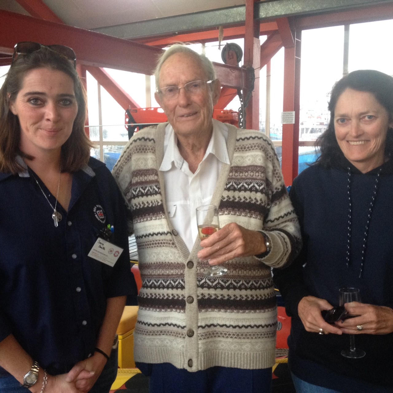 Life boat Club member Mr Straub, with his daughter Andrea enjoying a tour of the rescue base with Statcom Sara Smith