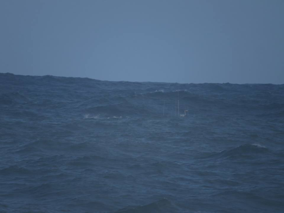 Try spot the aerials of our rescue boat. This pic by John Wilson gives an idea of the sea state.