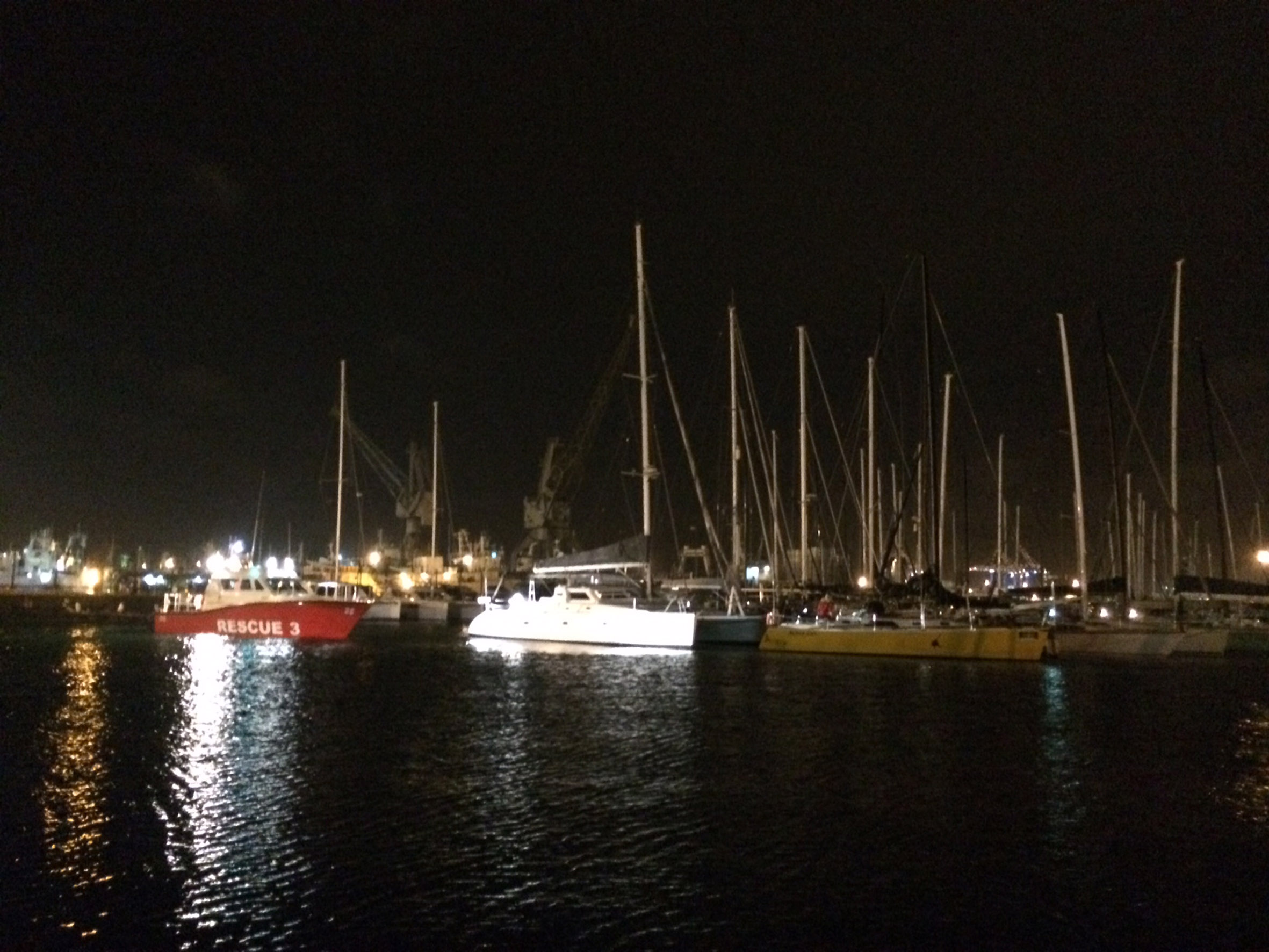 Spirit of Vodacom sees the Cape to Rio yacht Black Cat safely into Royal Cape yacht club. Picture Robyn Silverstone / NSRI.