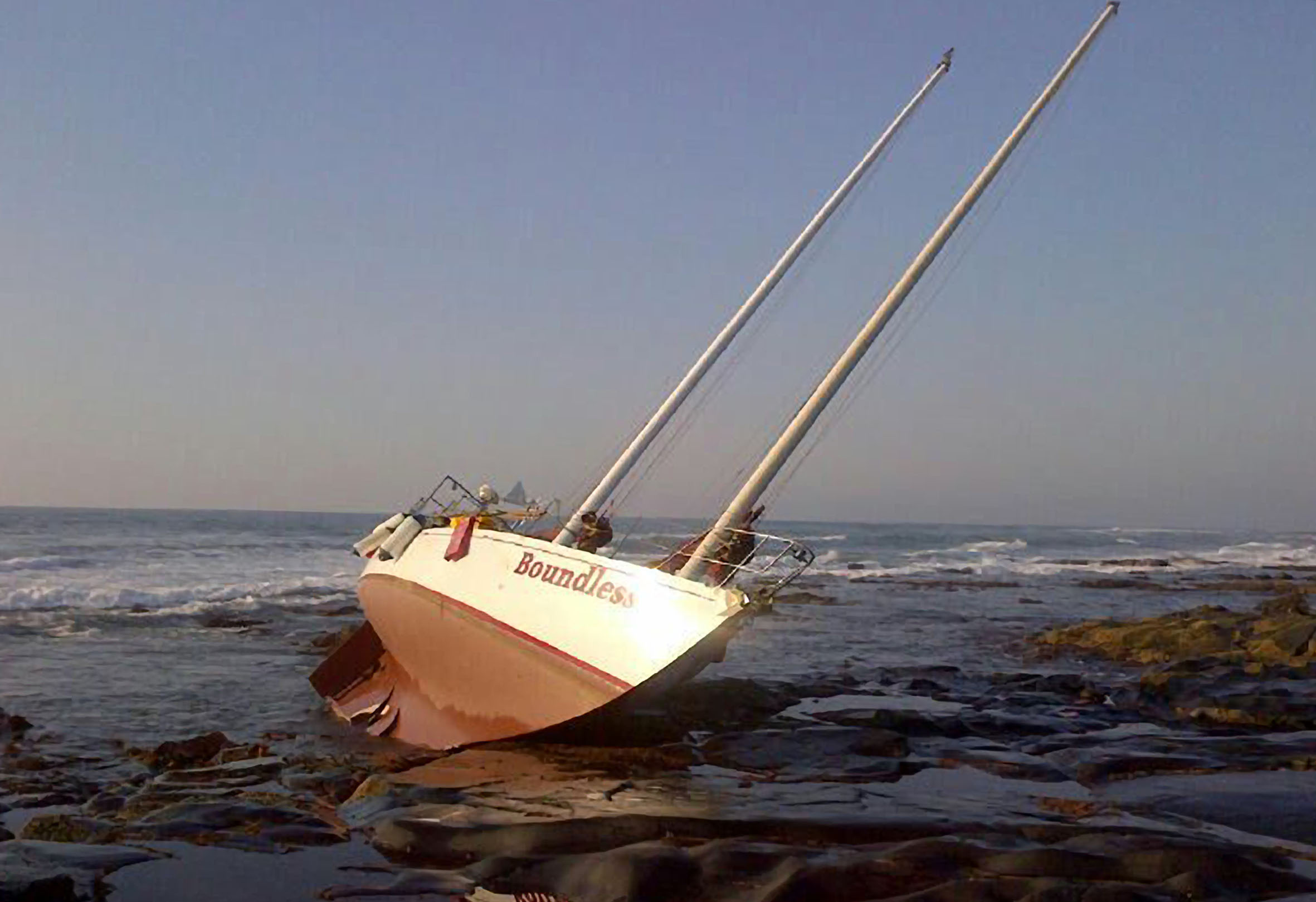 The Boundless aground at