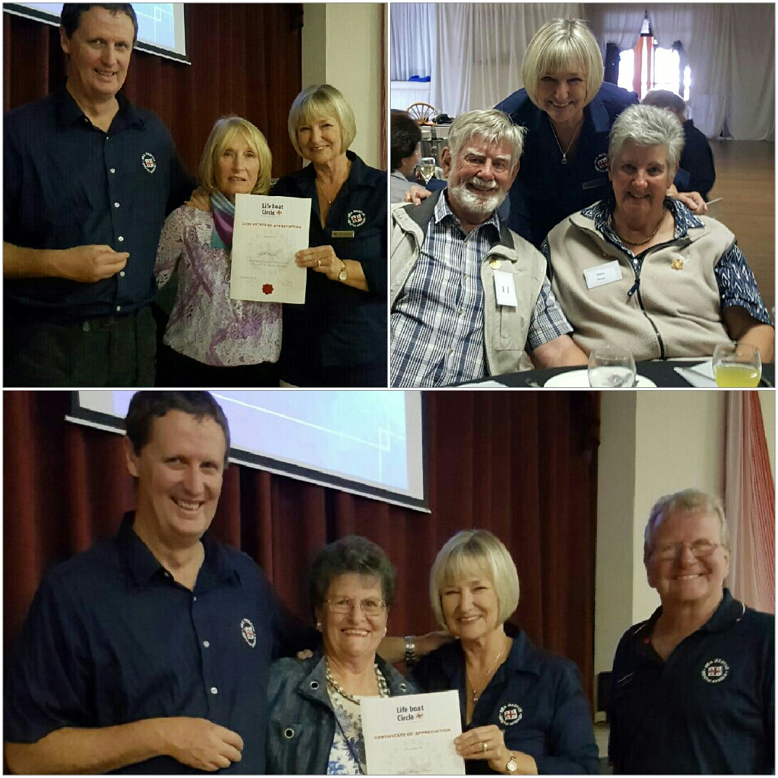 Andrew Ingram and Janet Burgess presenting certificates to Jill Frank at the lunch at The Portuguese Club