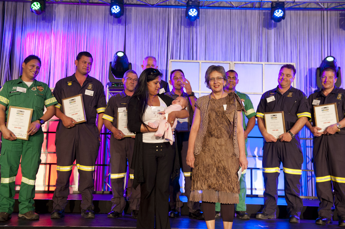 The Police and Metro divers who rescued three trapped women from the upturned hull of the Miroshga off Hout Bay in October 2012. Survivors Bronwyn Armstrong with baby Lexie and Anna-Marie Wever were at the awards to thank the team. Picture Andrew Ingram/NSRI
