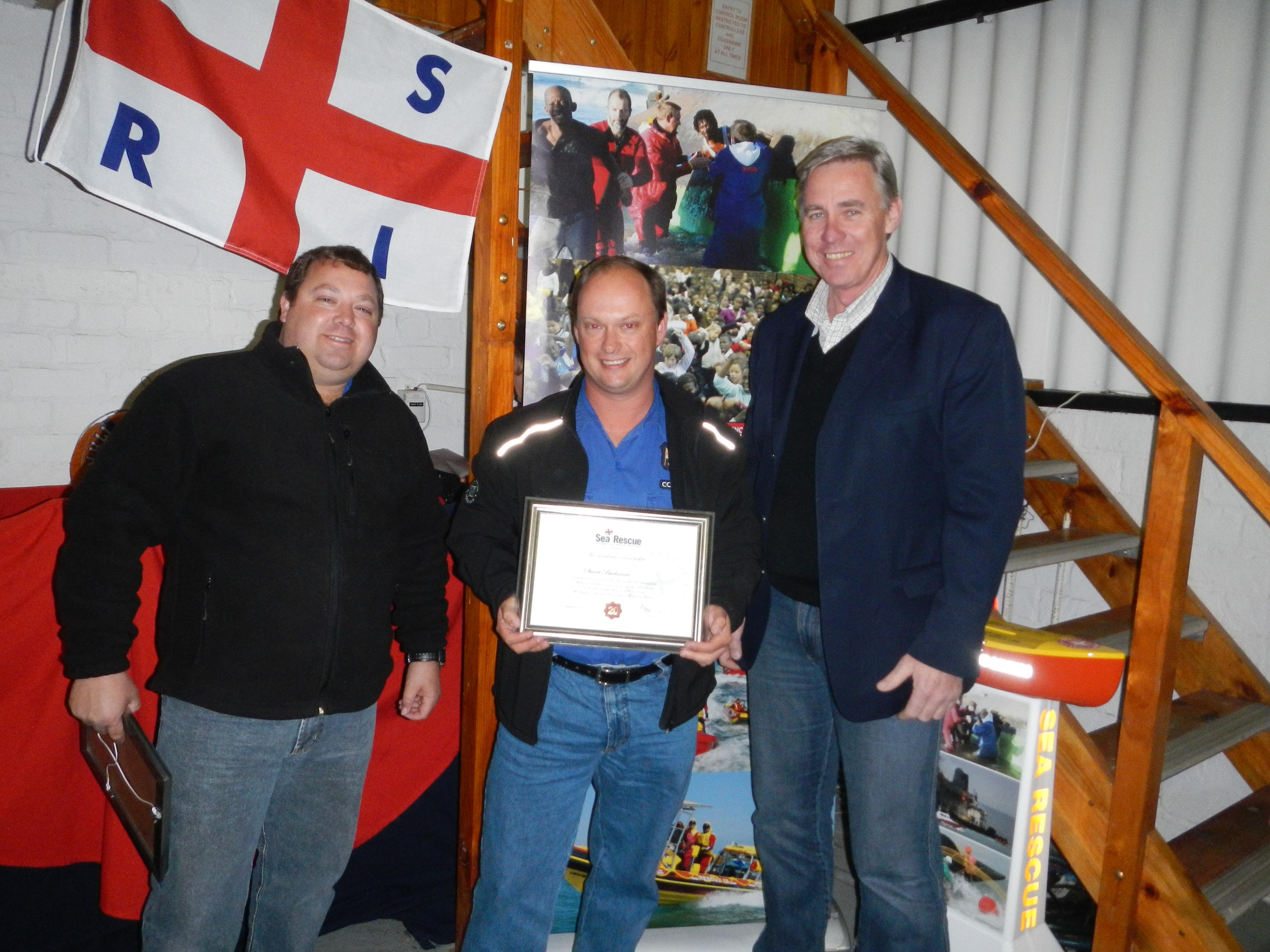 Stuart Buchanan receiving his 20 year service award