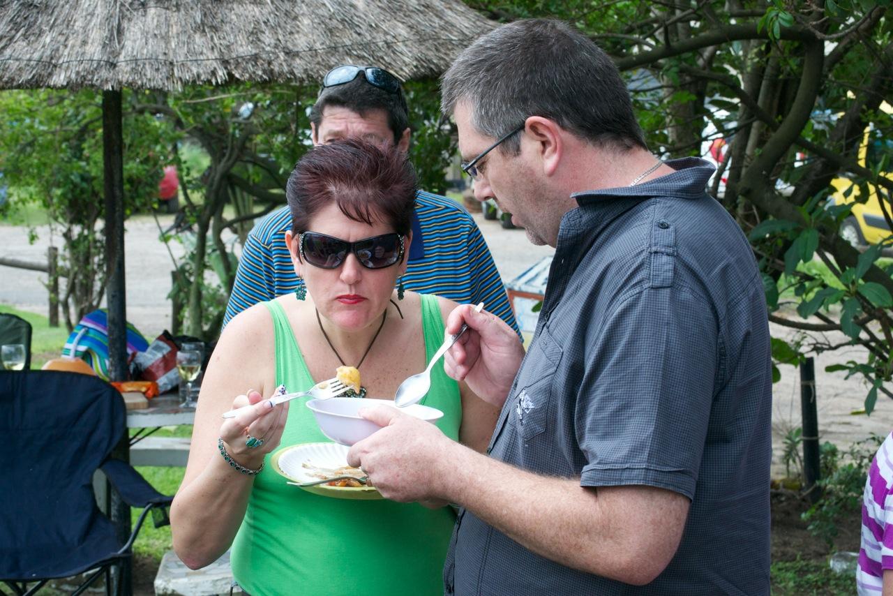 Christine and Andrew Stevens sampling the offerings.