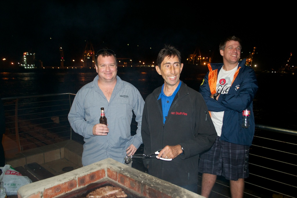 Gary Collingwood and Stephen Muller share a laugh during the braai.