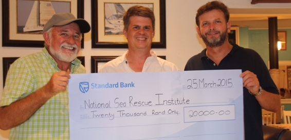Left  - Horst Keil, NSRI station commander Clifford Ireland and RNYC Commodore Graham Rose. Photograph by Sue Williams.