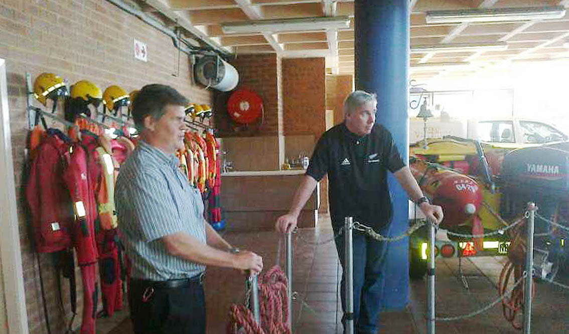 Durban Station commander Clifford Ireland with Cleeve at the Durban rescue base.