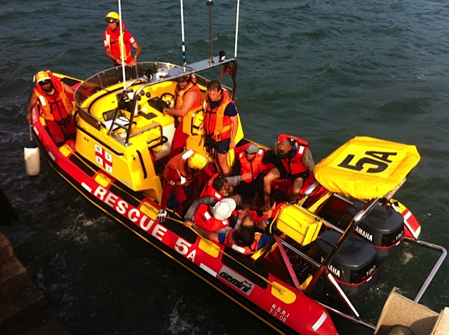 The Queen Fisher crew arrive at the Durban Sea Rescue base aboard
