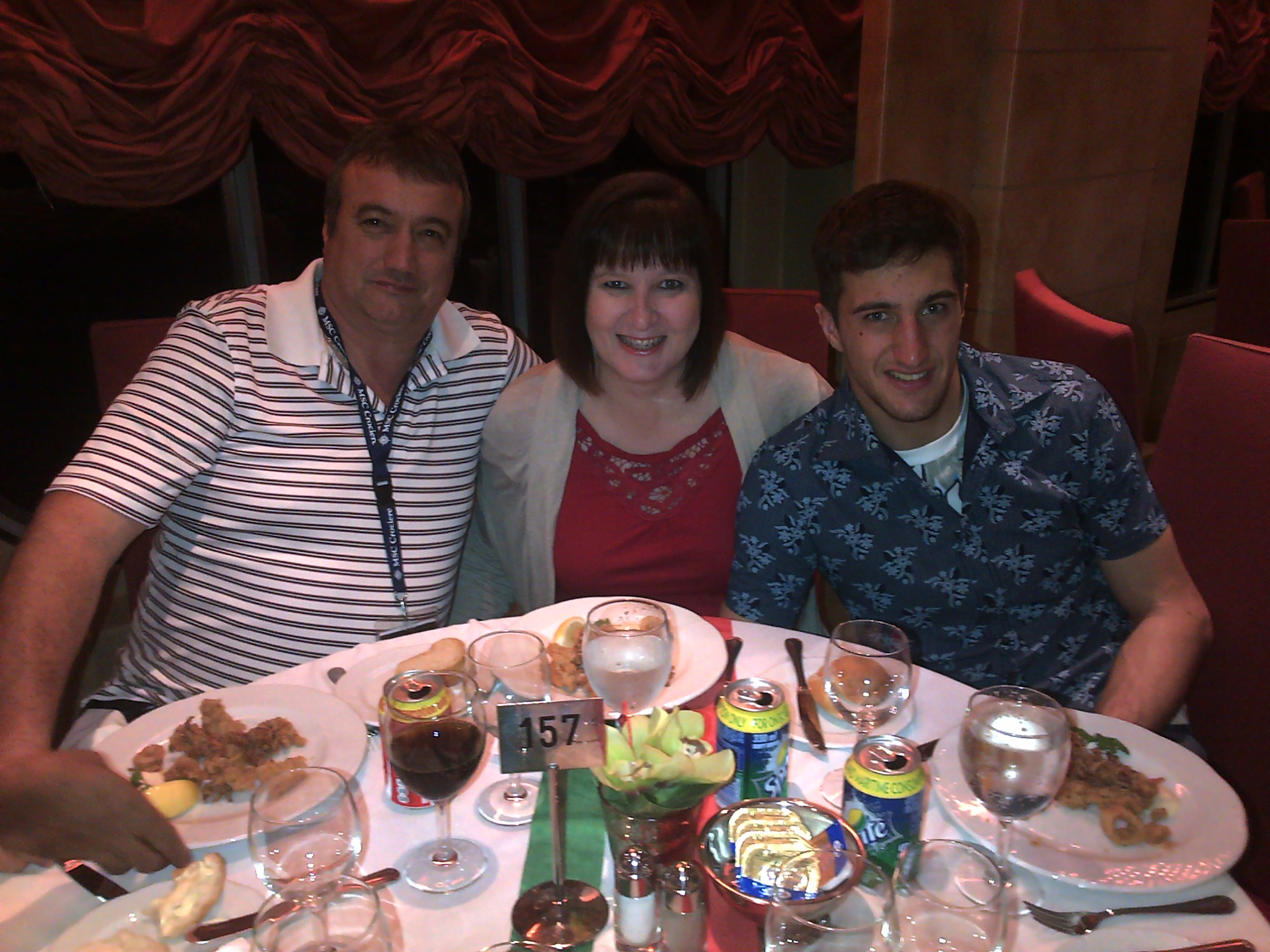 The Paverd family having supper in the Il Covo.