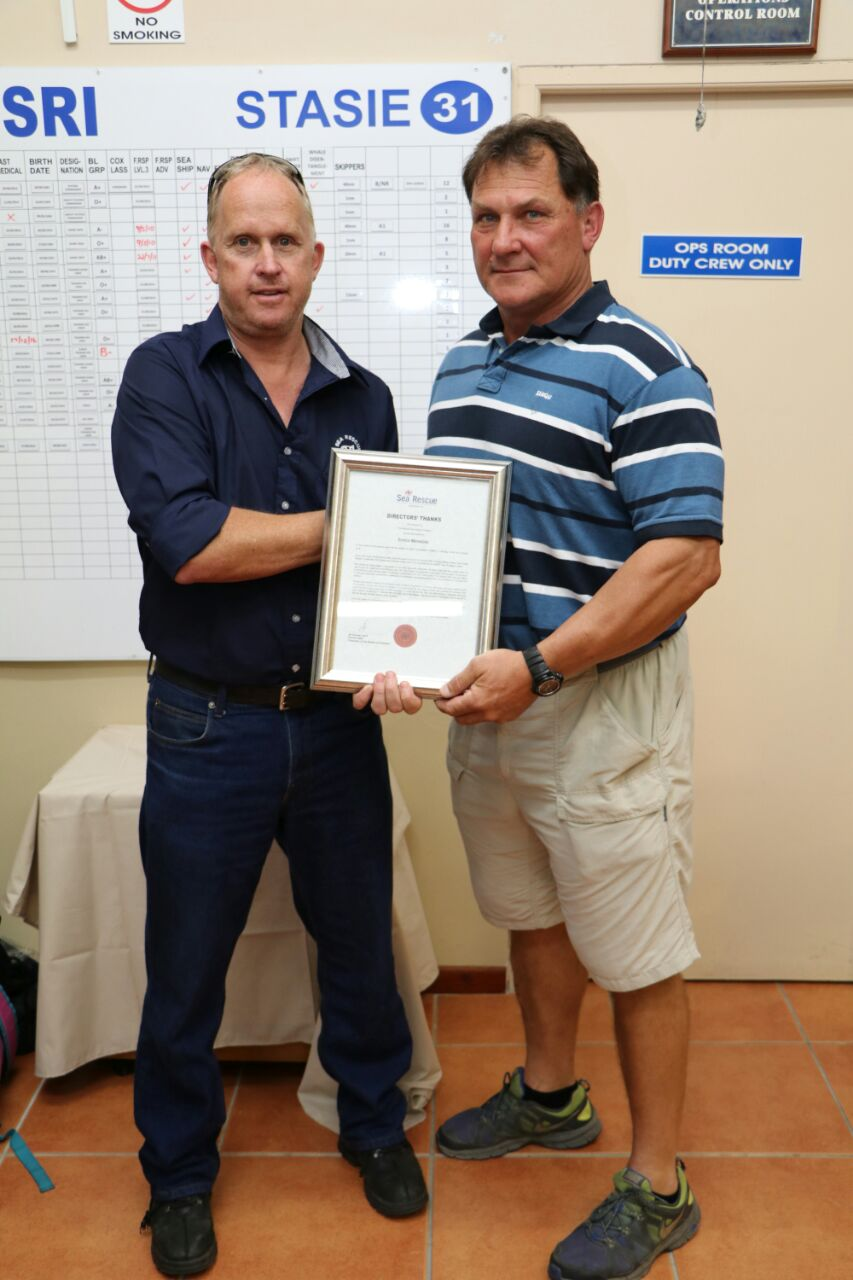 Enrico Menezies receiving a Directors' Thanks Award for his valuable contribution as a Station Commander at Still Bay