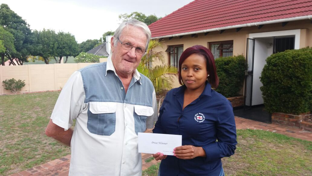 2nd prize won by Mr Peter Coetzee and the prize was handed over by Wendy Bululu.