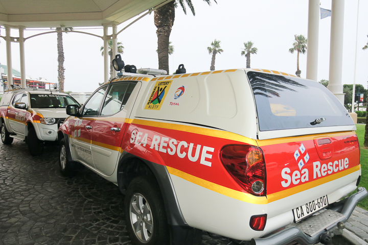 Greeted by rescue vehicles powered by Mitsubishi. Funds raised at Wine Auction will go towards purchasing a new rescue mobile for NSRI Simon's Town Rescue Base