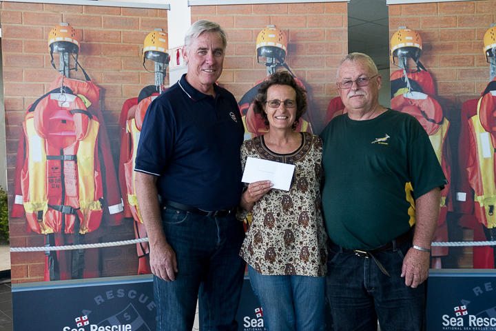 Dr Cleeve Robertson (NSRI CEO), Second prize winner, Edith Goodall and her husband Kim Goodall from Midrand Gauteng
