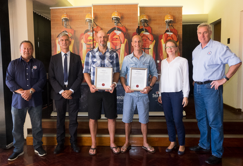 From left: Howard Godfrey (NSRI, Awards Committee Chairman, Deputy General Consul Mr. Roland Seidler, Tim Steinfels, Sebastian Deneke, Silja Gower, Vice Consul and Dr Cleeve Robertson (NSRI CEO)