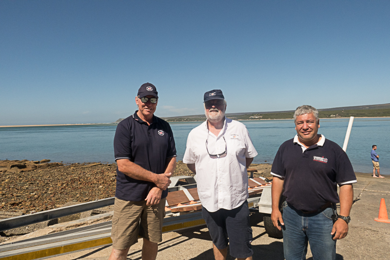 From left: Dr Cleeve Robertson (CEO), Allan Cramb and Theo Erasmus (Station Commander)