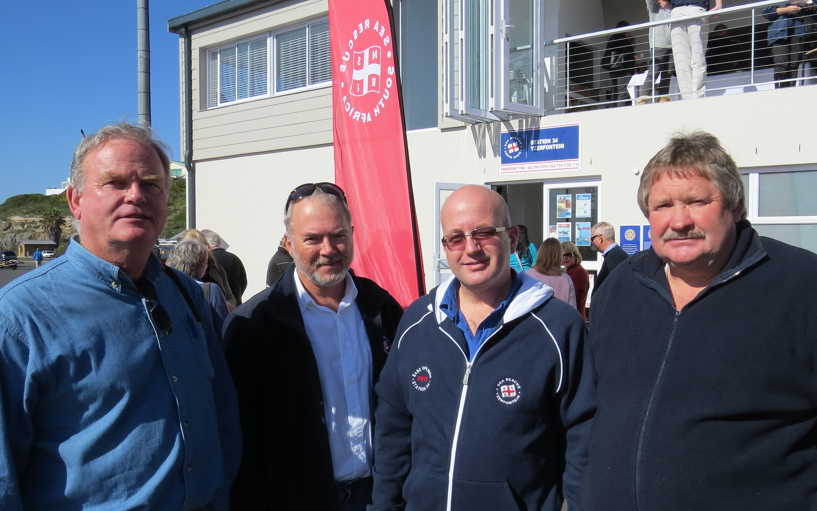 Doug Weirs (Rotary), Mark Hughes (NSRI Ops Director), Rudi Rogers (former Station Commander) with the builder Karl Kunert