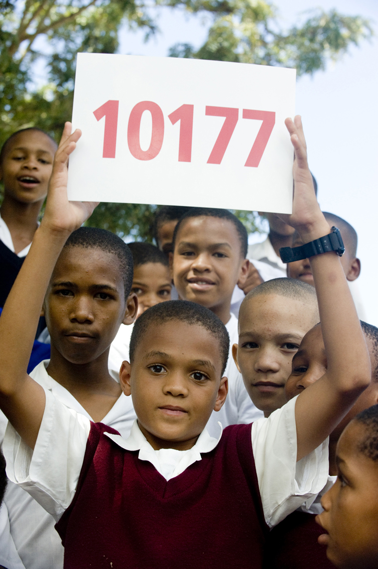 Jaydrien Felix (13) from Wittedrif Primary, with the emergency number
