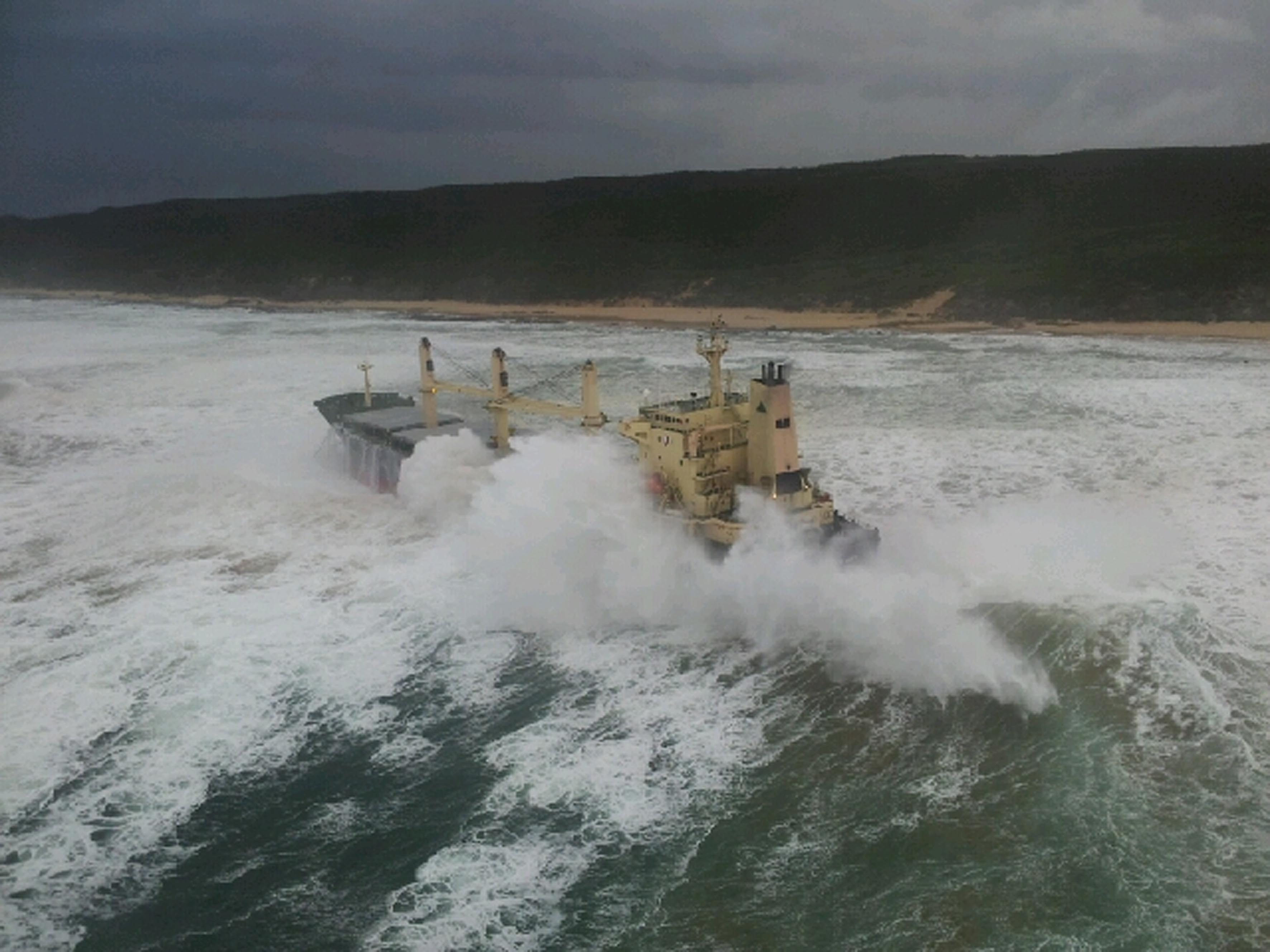 All 19 crew members were safely lifted ashore after being rescued off the ship KIANI SATU. They were airlifted off the ship by a Titan helicopters Sikorski 76 helicopter. Picture NSRI