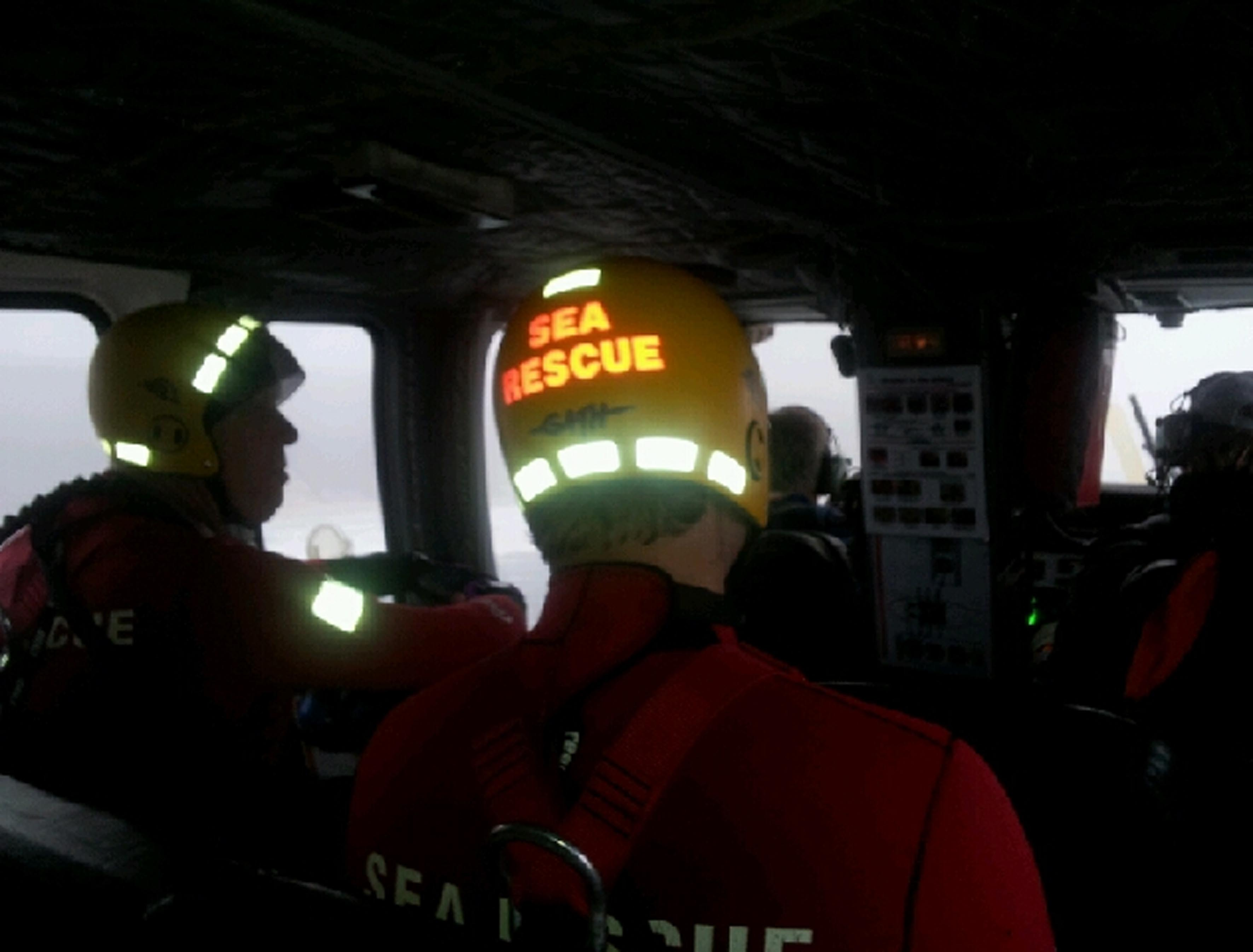 Sea Rescue swimmers aboard the helicopter. All 19 crew members were safely ashore after being rescued off the ship KIANI SATU. They were airlifted off the ship by a Titan helicopters Sikorski 76 helicopter. Picture NSRI.