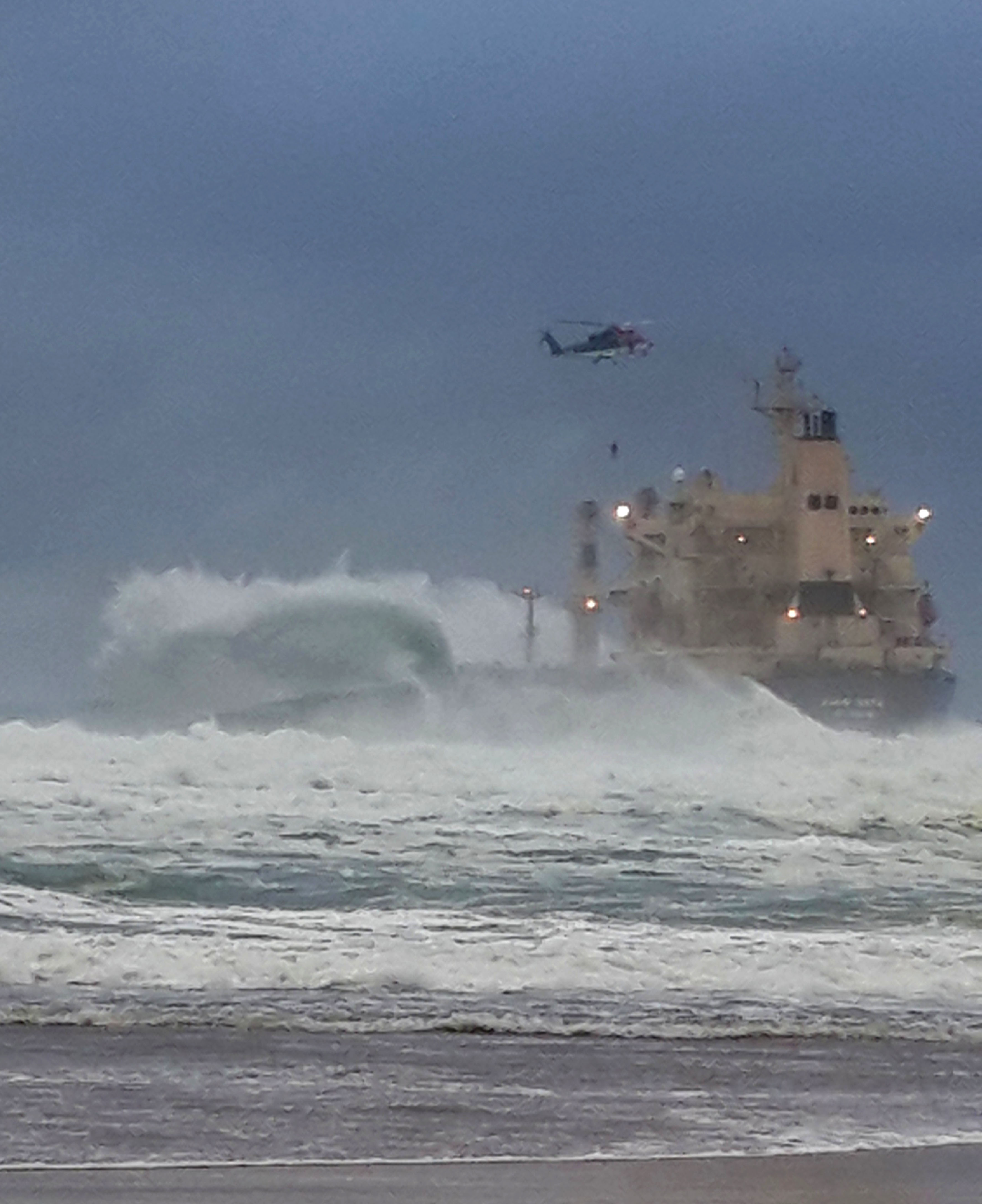 All 19 crew members were safely ashore after being rescued off the ship KIANI SATU. They were airlifted off the ship by a Titan helicopters Sikorski 76 helicopter. Picture Bianca Bezuidenhout, Wilderness NSRI crew.