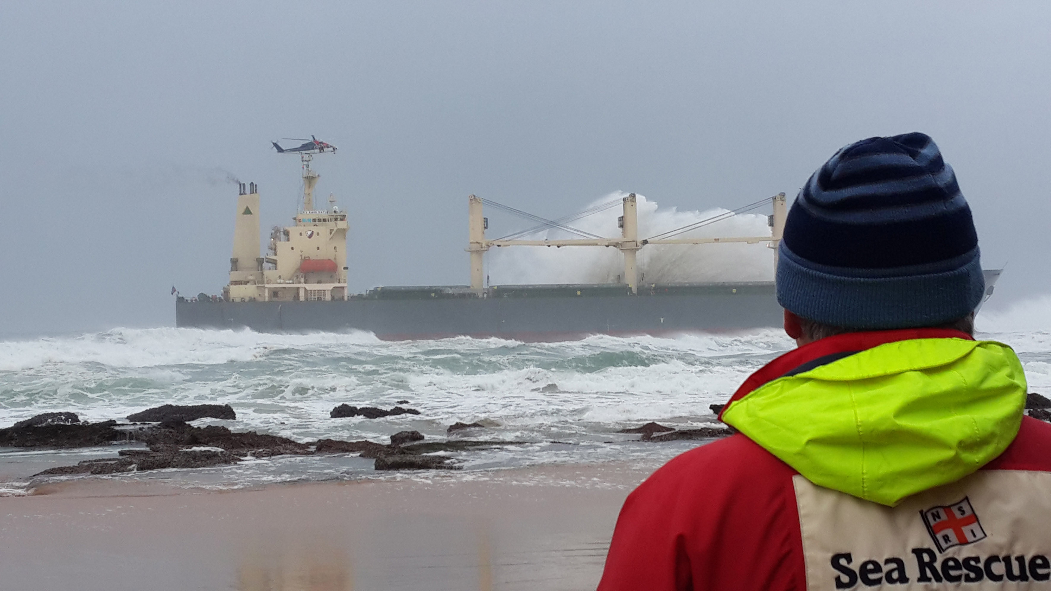 All 19 crew members were safely ashore after being rescued off the ship KIANI SATU. They were airlifted off the ship by a Titan helicopters Sikorski 76 helicopter. Picture Bianca Bezuidenhout / Wilderness NSRI volunteer.