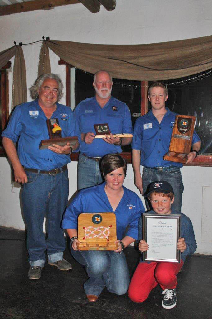 From left back: Siggi Weiss - Rubber Duck Award, Laurie Rother - Supporter of the Year, Shane Field - Crewman of the Year; From left front: Shani van der Merwe -Achiever of the Year, Luca Ceruti - Received a citation for saving the life of a child in the lagoon whilst out paddling. Absent: Casper Frylinck - Coxswain of the Year.