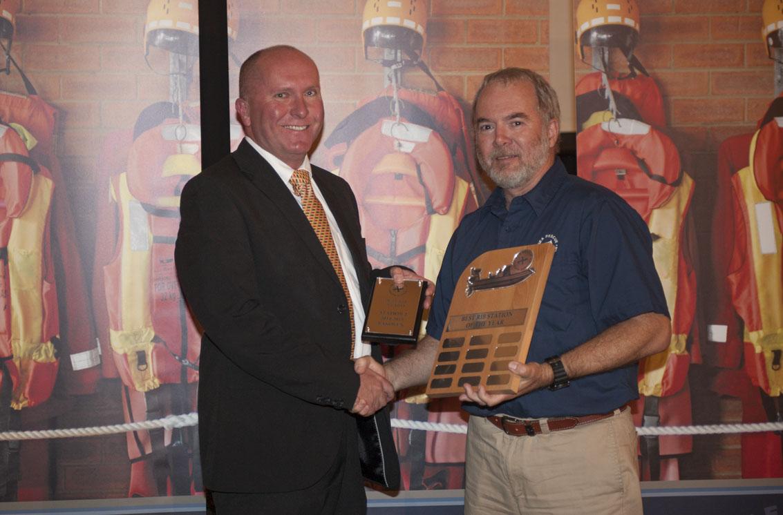 BEST RIB STATION AWARD: Station 2 Bakoven. Station Commander Bruce Davidson received the award from Mark Hughes.