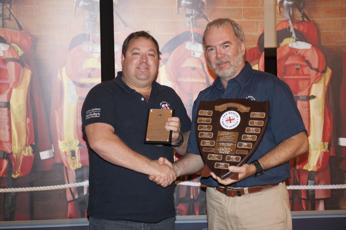 BEST CLASS 1 STATION AWARD (PAT O SULLIVAN): Station 10, Simon's Town. Station Commander Darren Zimmermann received the award from Mark Hughes.