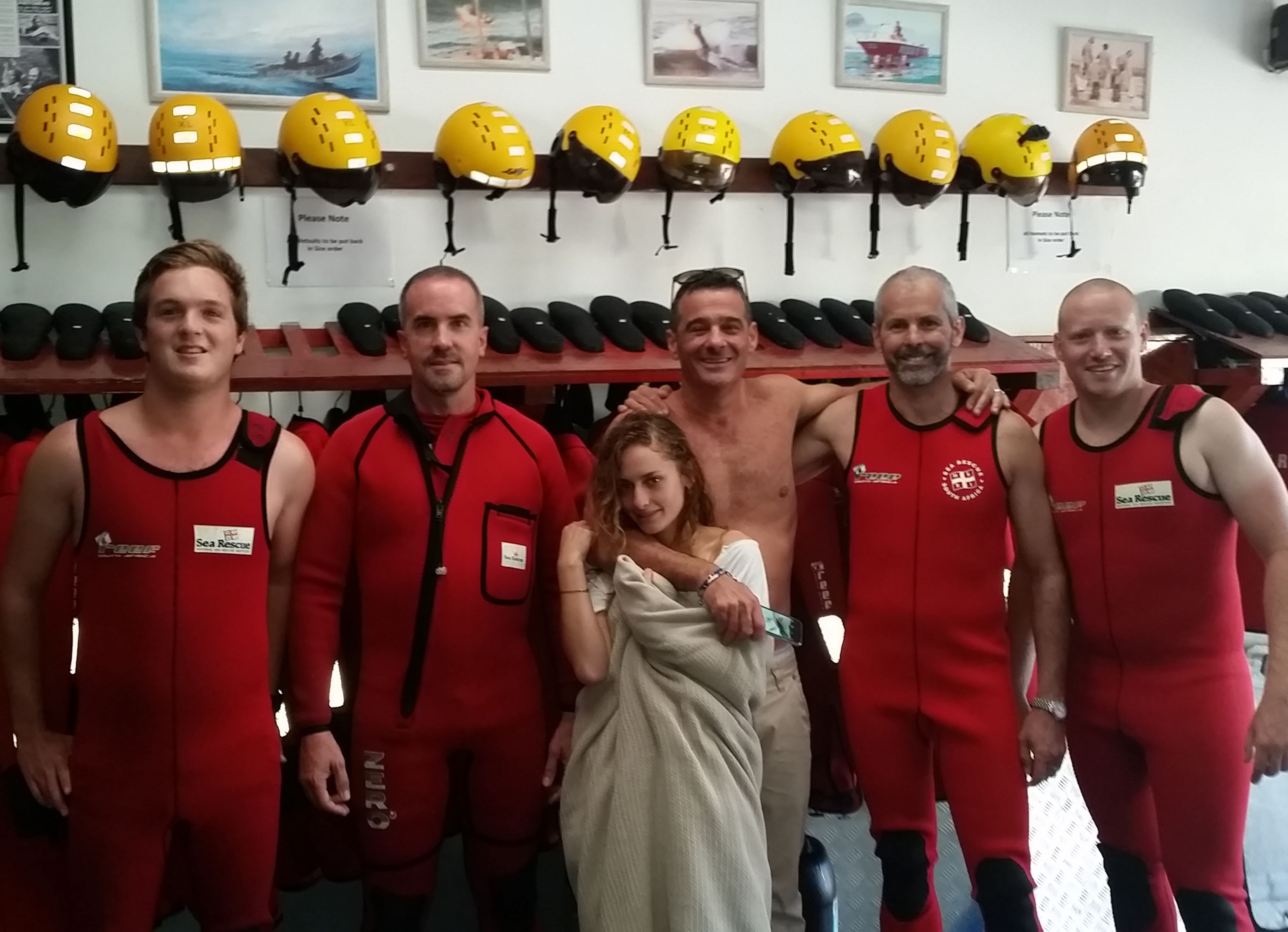 The rescue crew of Alex Albert, Bernard Schaefer, Danielle and her Dad Phillippe Hasson, Mark Thompson (Coxswain) and Luke van Riet.
