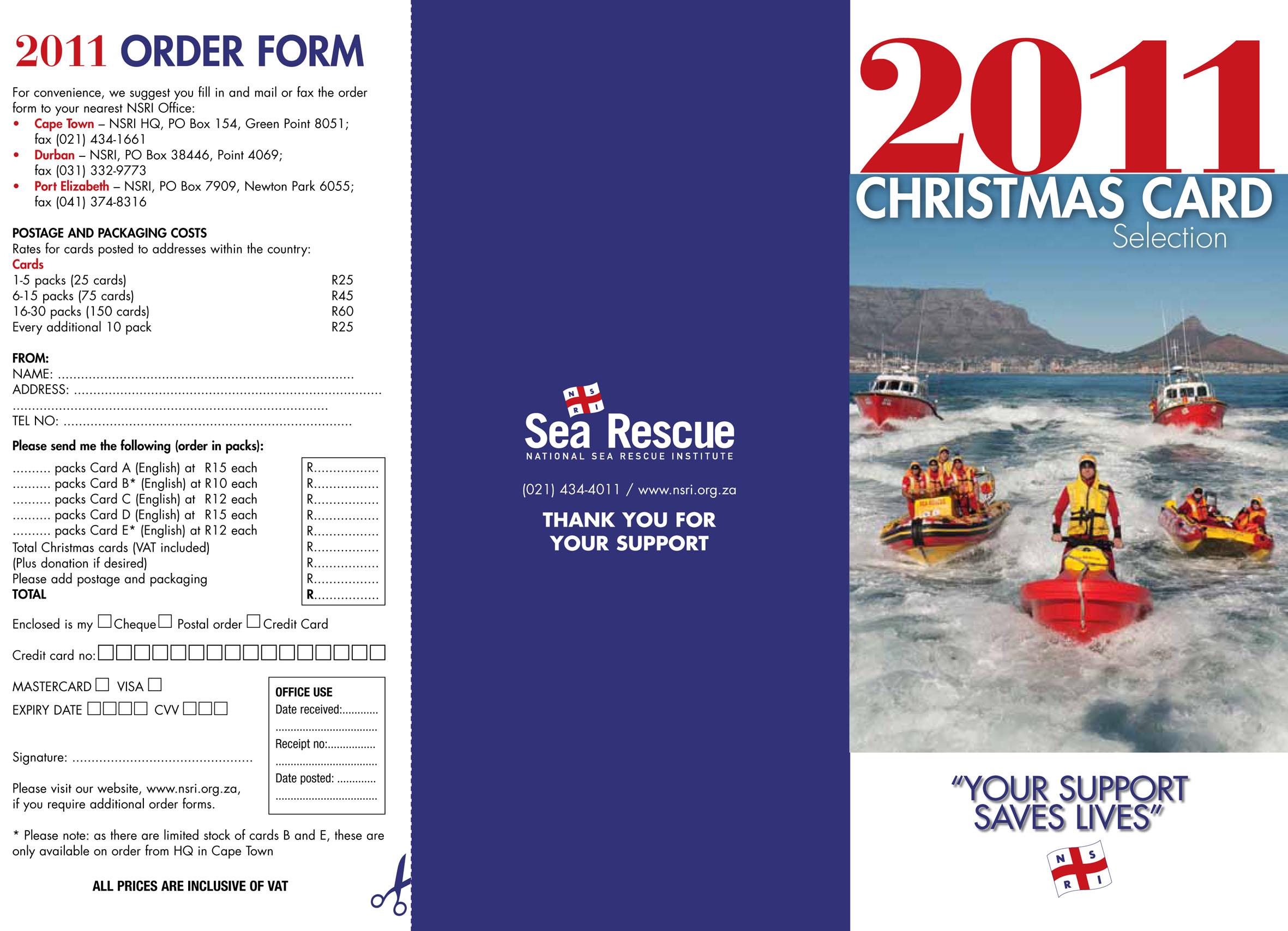 2011 Sea Rescue Christmas cards - NSRI