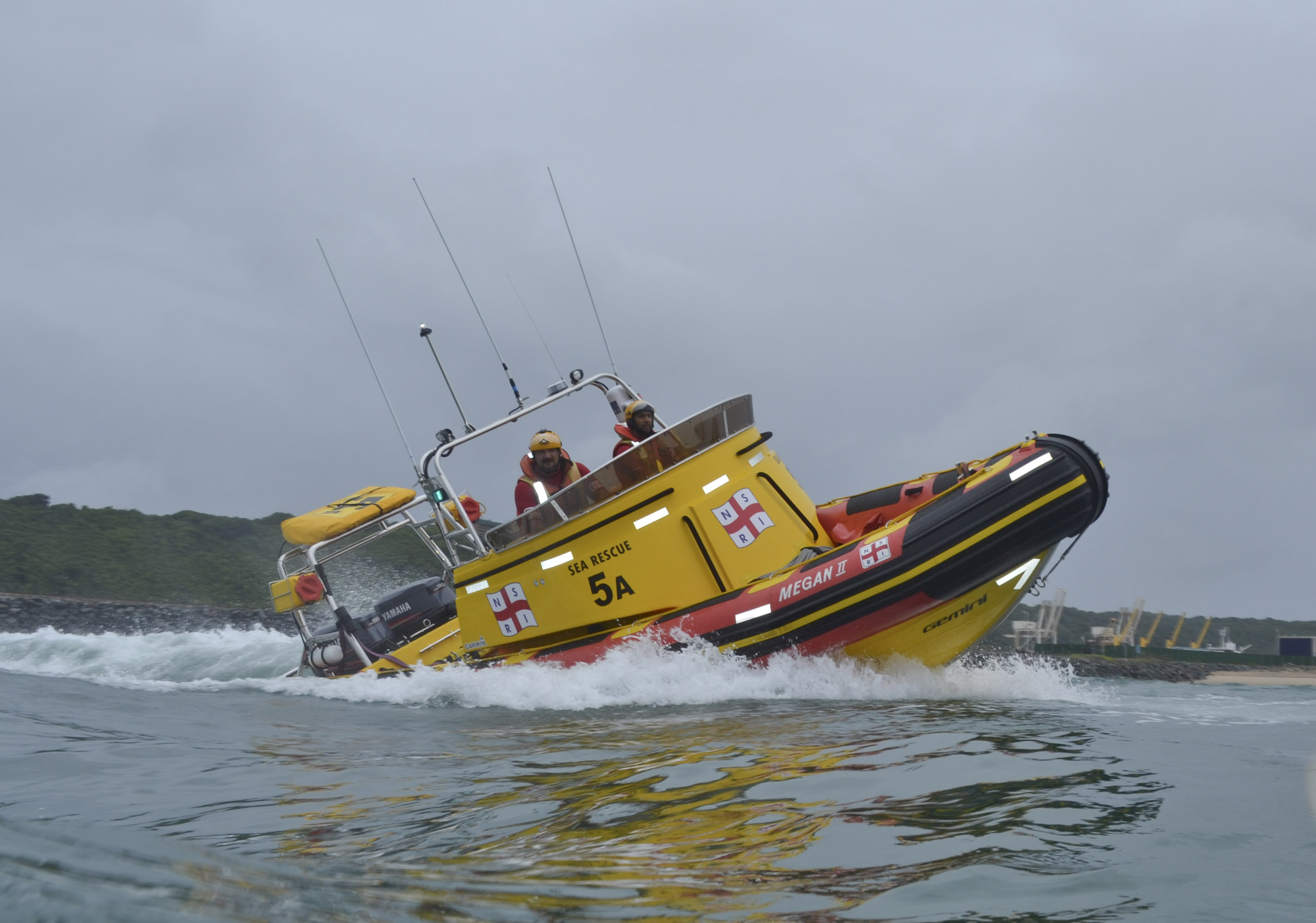 The Durban rescue boat Megan II ran 25 miles down to the search area for the missing divers.