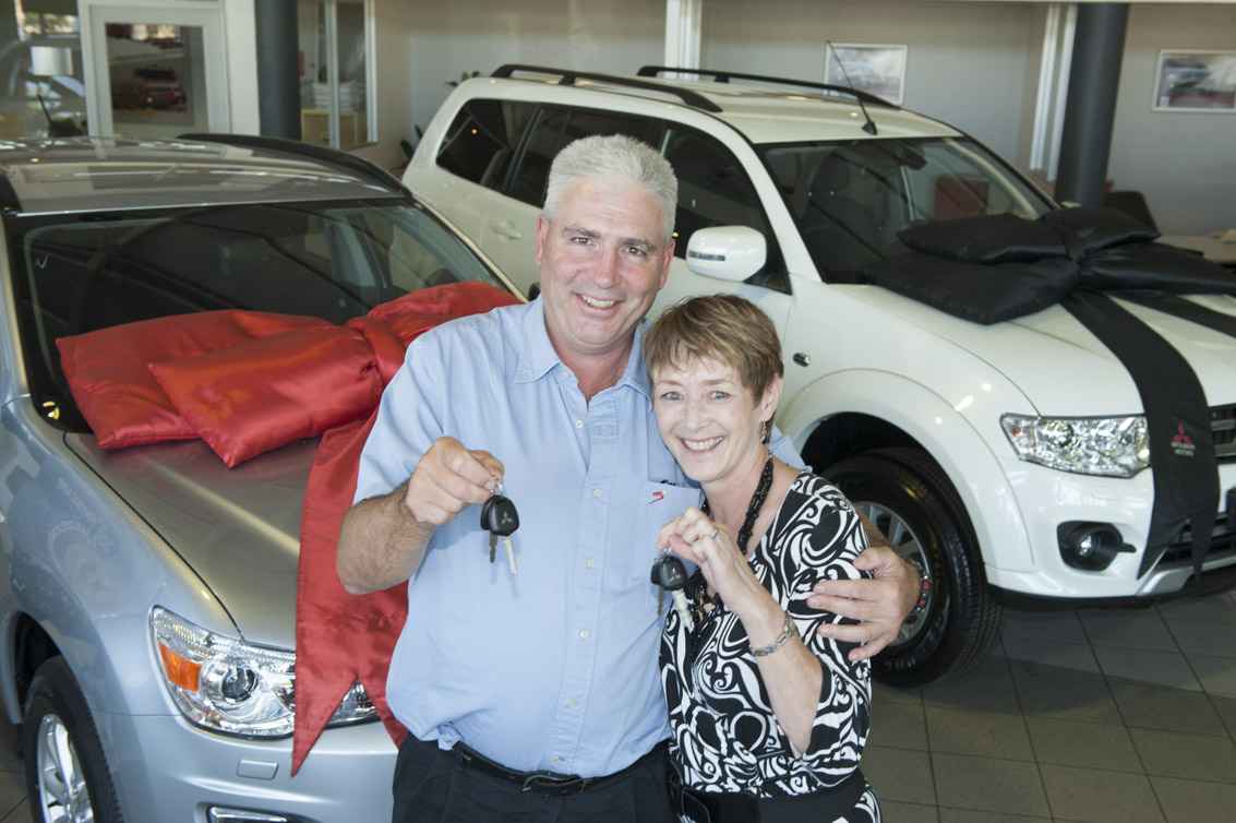 The 2015 grand prize of 2 Mitsubishi vehicles; A Pajero Sport 2.5 and an ASX 2.0L (Classic) worth almost a million rand was won by Mr Haydon Goument here with his wife Karen.