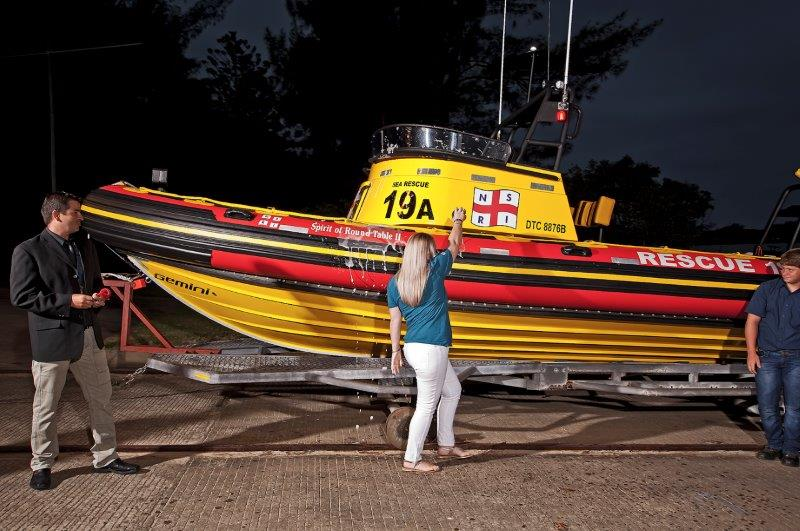 Riane vd Linde christening the boat