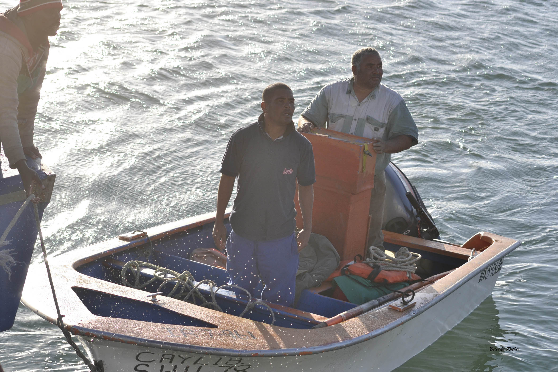 Christy Jordaan, 59, and his son Brandon 36, after being towed in to Saldanha by the fishing boat Adamas. Picture Belinda Rother/NSRI.