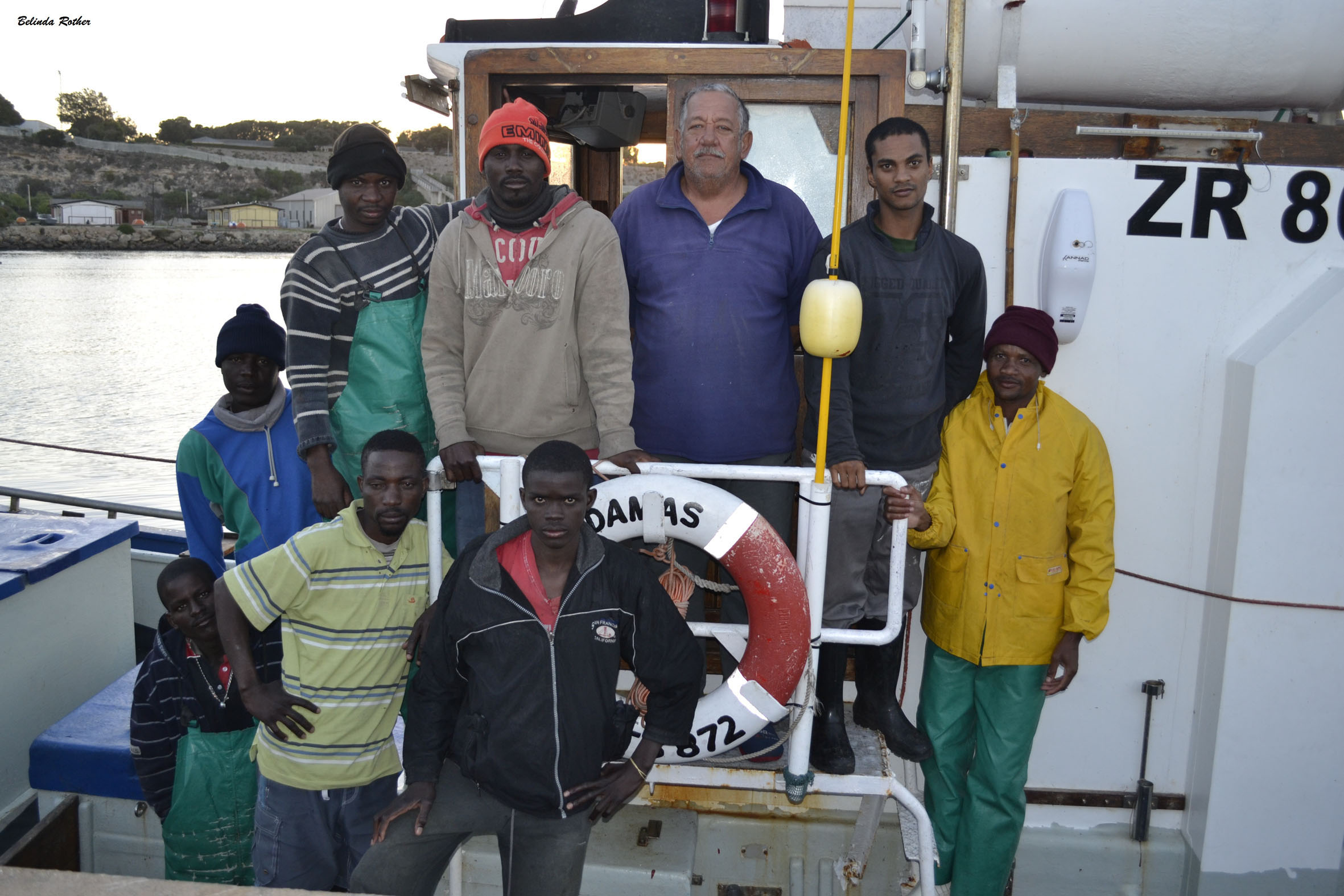 The crew of Adamas that rescued Christiaan and Brandon Jordaan on their 4.2 m boat Calib.