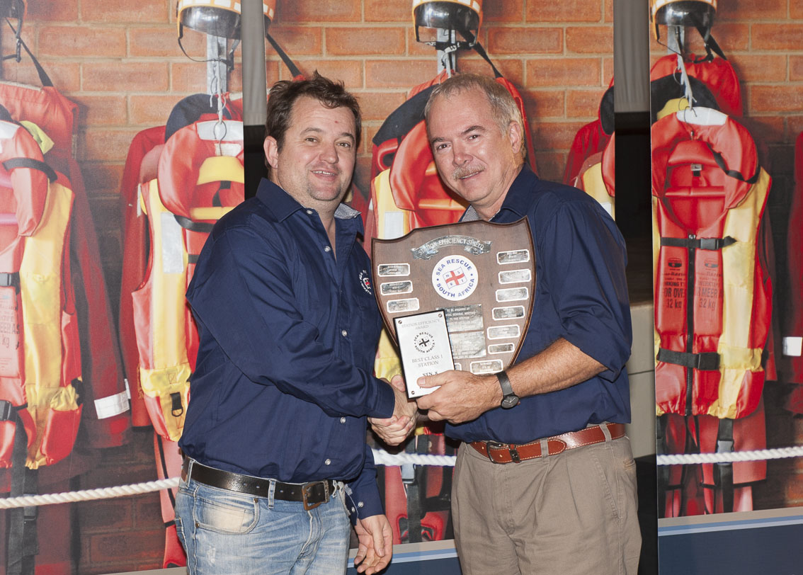 Lyall Pringle Station Commander of station 8 Hout Bay received the best Class 1 station award presented by Operations Director Mark Hughes.