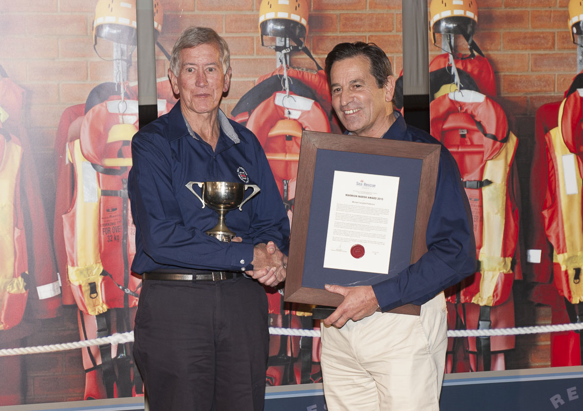 Mike Patterson recieves the MARMION MARSH AWARD from NSRI Chairman Ronnie Stein.