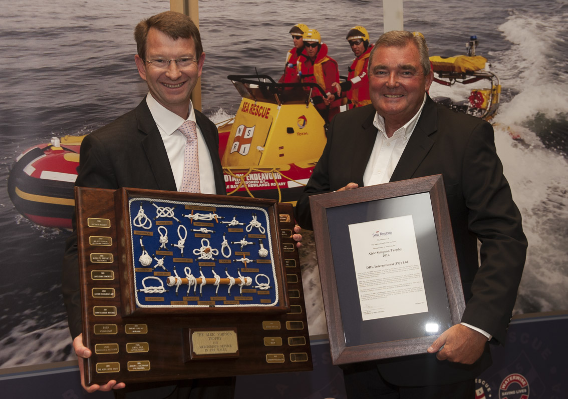 ALRIC SIMPSON AWARD- DHL International Hennie Heymans and NSRI Chairman Peter Bacon.