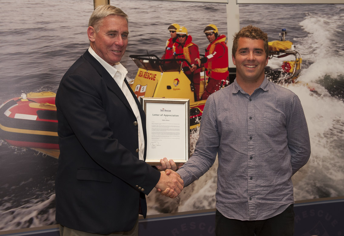 Chief Executive Officer Letter Of Appreciation – Aden Kleve presented by Cleeve Robertson (L).