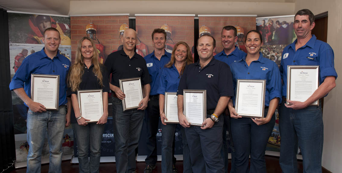 NSRI volunteers from Station 2 Bakoven, Station 3 Table Bay and Station 18 Melkbosstrand were today given awards for the rescue of 12 fishermen from the trawler Claremont that ran aground on Robben Island during a vicious storm on 13 August 2013.