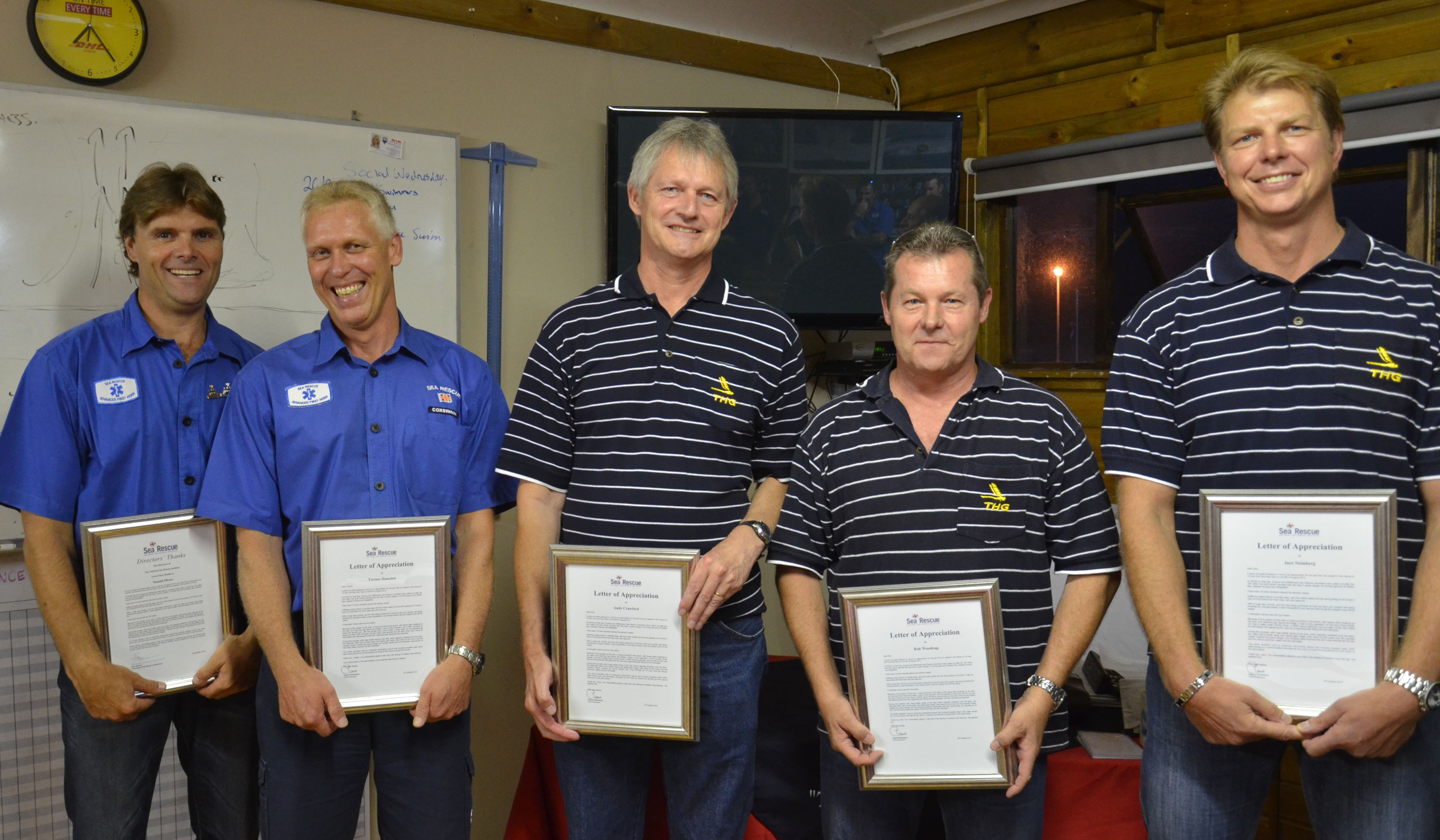 Picture caption: NSRI volunteers Donald Oliver and Torsten Henschel with  Andy Crawford (co-pilot), Rob Woodrup (engineer, patter) and Jaco Steinberg, pilot, all from Titan Helicopter Group. Picture Monica Vaccaro/NSRI.