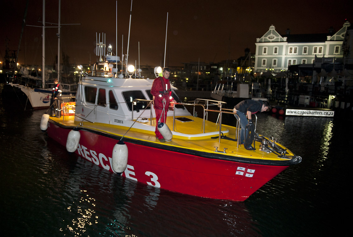 The NSRI boat Spirit of Vodacom enters Table Bay harbour after the rescue.