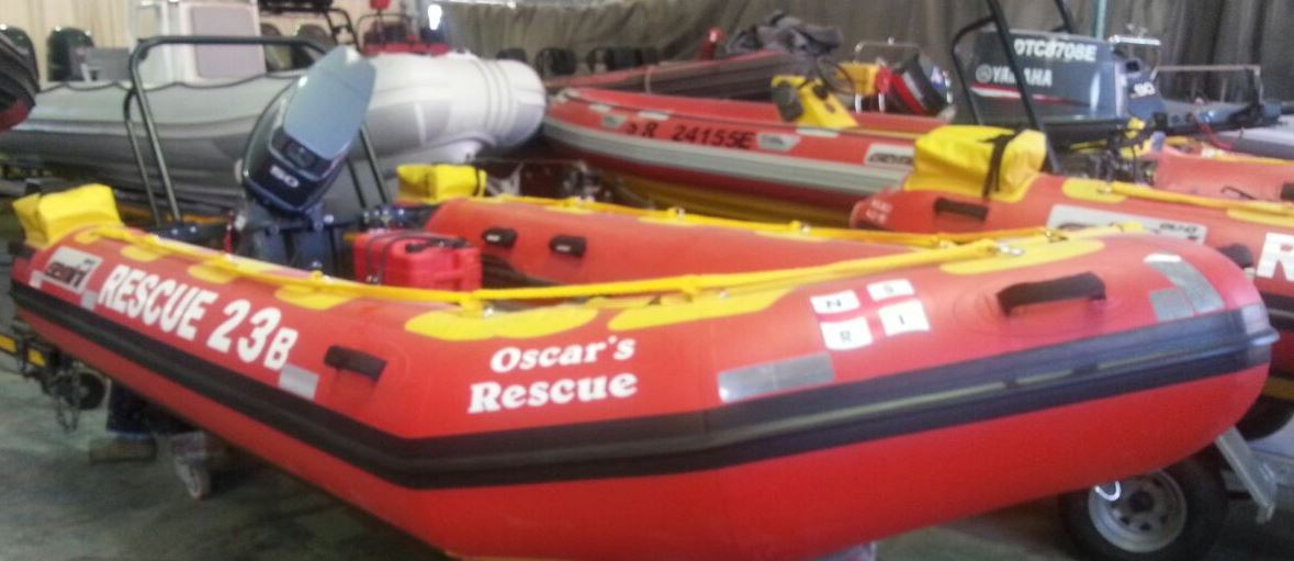 """Oscar's Rescue"" boat is dedicated by Shirley, Warren, Daniel and Kelly in loving memory of their husband and father, Oscar Goldstuck."