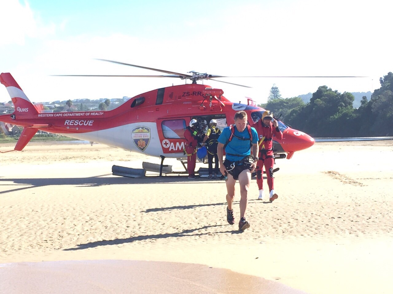 Laurent was airlifted to the Plettenberg Bay Sea Rescue station.